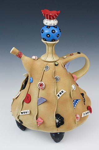 One of a kind ceramic teapot by Laura Peery