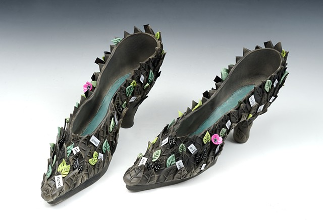 Porcelain and mixed media shoes by Laura Peery