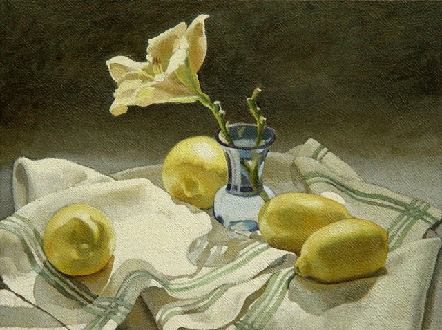 Lemons and the blue vase
