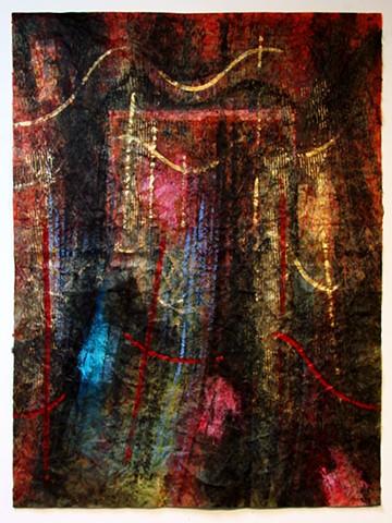 Behind Each Curtain ... worn red velvet