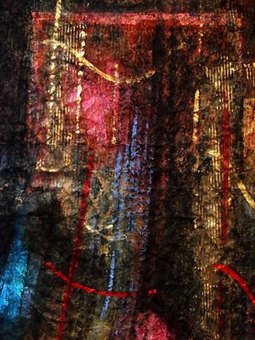 Behind Each Curtain ... worn red velvet -detail