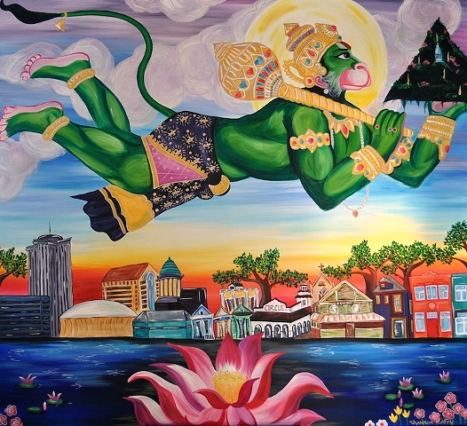 Hanuman Flying Over the New Orleans Skyline