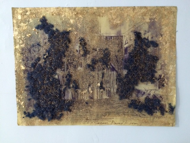 paper, collage, gold leaf, drawing, art,