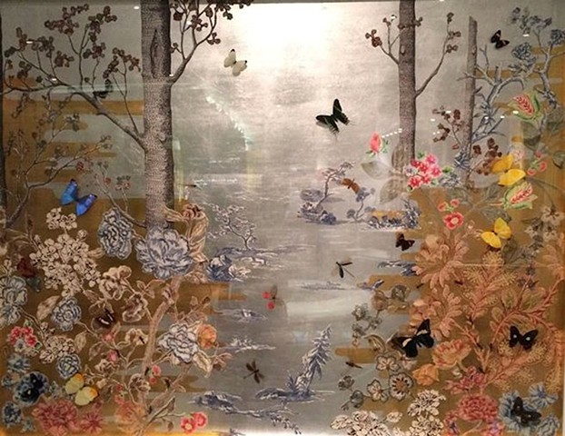 Gold and Silver leaf, Butterflies, Insects, Mixed Media, Art