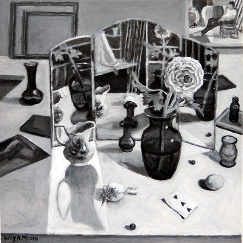 Mirrored Still Life with Three of Hearts