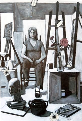 Self Portrait in Studio with Head Sculpture