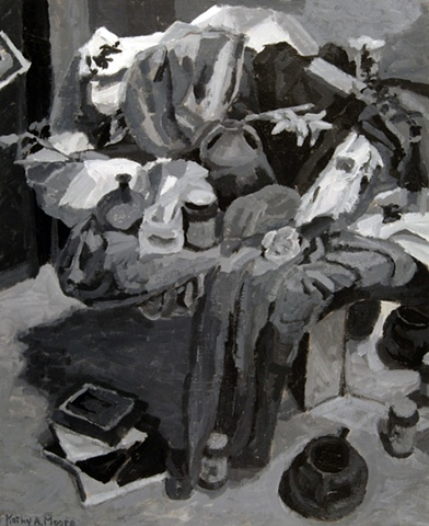 Circular Still Life from the Side-Tonal Study