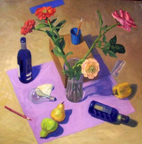 Looking Down Upon Still Life on Violet Cloth