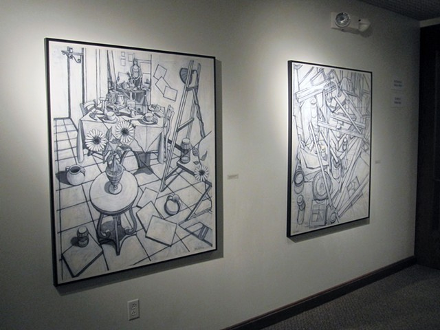 Anderson University, Wilson Galleries, conte crayon and gesso drawings
