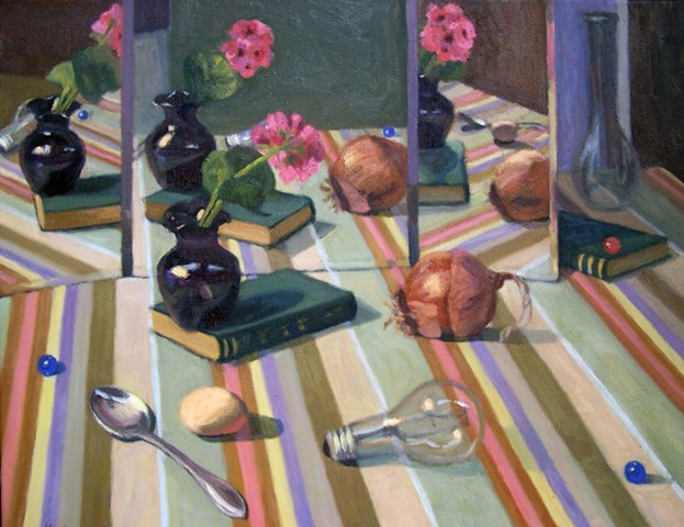 Mirrored Still Life on Striped Cloth