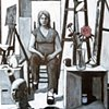 Self Portrait in Studio with Head Sculpture