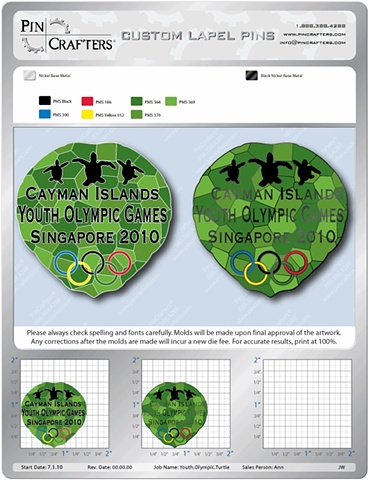 Cayman-Youth Olympic Games Pin | Turtle Shell Design