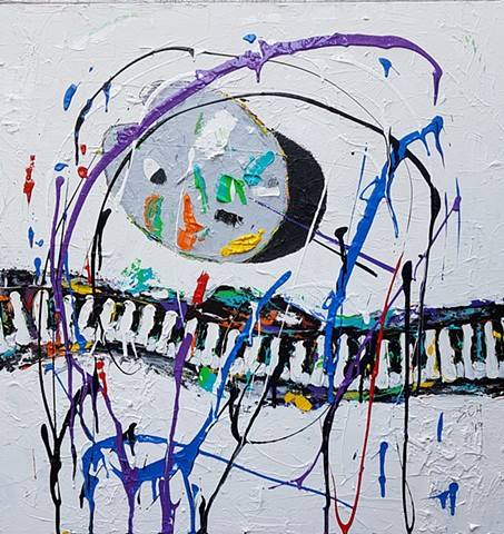 Artist meets Pianist -acrylic on canvas 30x30 -Sold