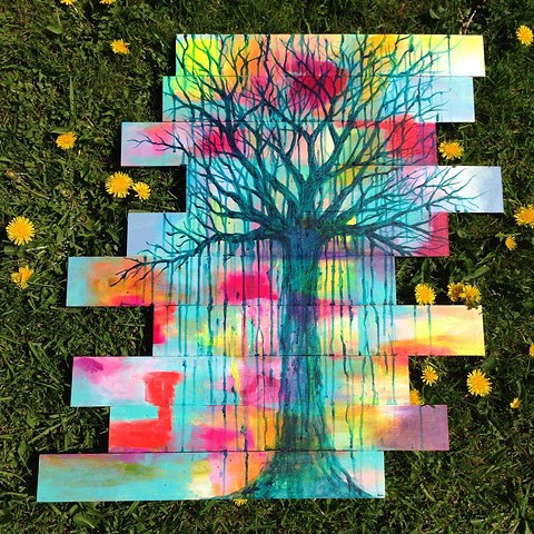 Fine Art Painting inspired by colour, spring and summer days and shadowy trees.