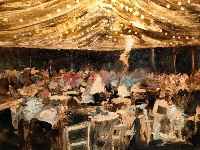 live painting wedding reception