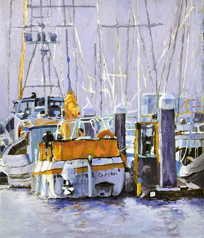 Acrylic painting of boats in harbor by Edie Fagan sailboats water marina
