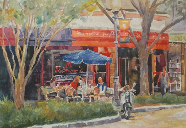 watercolor by Edie Fagan of Palmano's Winter Park, Florida Park Avenue street scene
