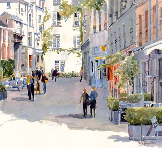 Watercolor painting of Rue de Barres, Paris, France by Edie Fagan