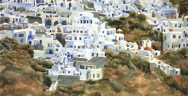 Watercolor painting of Santorini, Greece by Edie Fagan, Oia, Greek Isles,