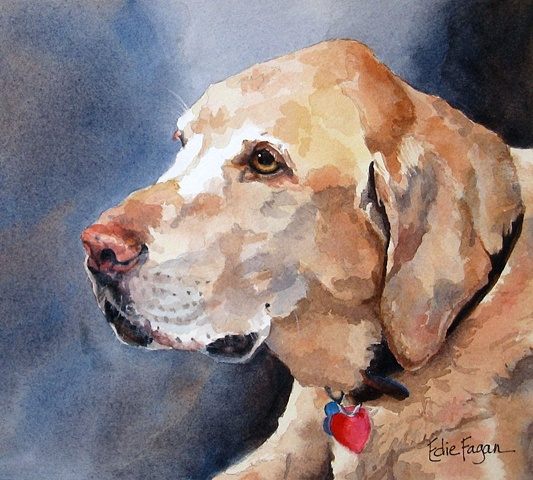 Edie Fagan Adored Dogs watercolor portrait of dog labrador retriever painting