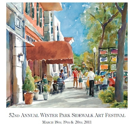 watercolor painting of Winter Park Sidewalk Art Festival Poster 2011 by Edie Fagan
