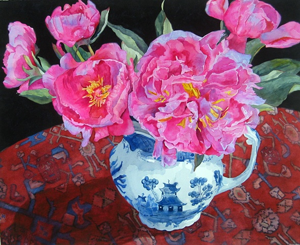 painting of peonies by Edie Fagan