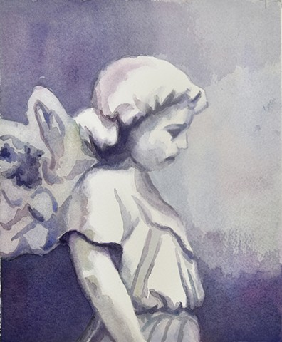 Watercolor Painting by Edie Fagan of an angel statue