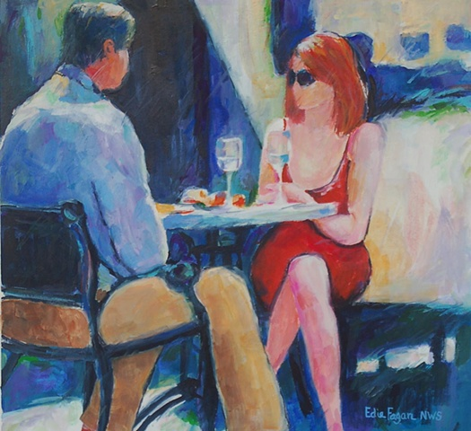 painting of couple on street Winter Park by Edie Fagan