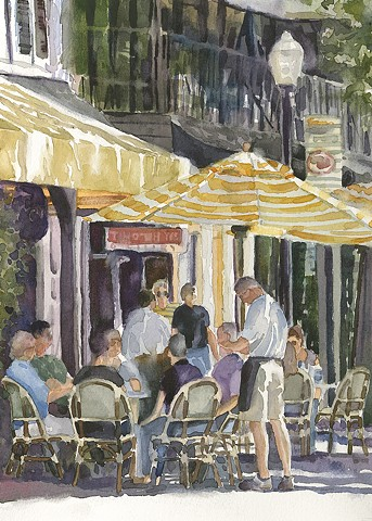 Watercolor painting by Edie Fagan of Briarpatch restaurant on Park Ave. Winter Park Florida