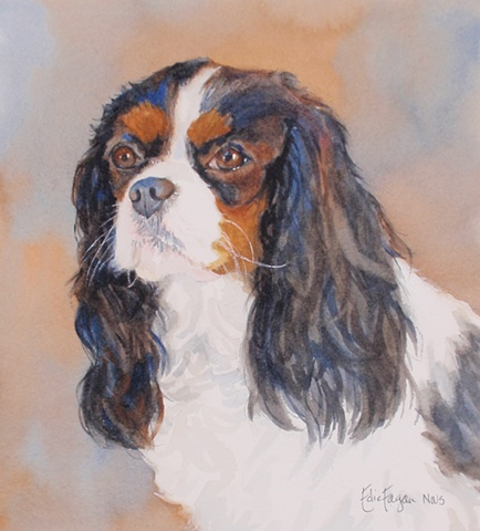 Edie Fagan Adored Dogs watercolor portrait of dog watercolor painting of Cavalier King Charles Spaniel tricolor