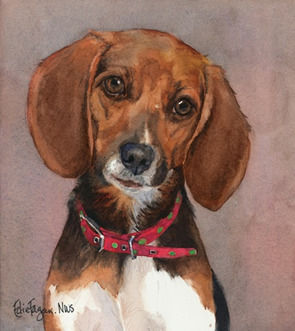 watercolor dog portrait of beagle by Edie Fagan Adored Dogs painting