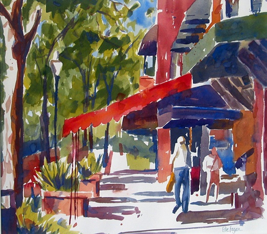 watercolor painting by Edie Fagan of Park Avenue Winter Park Florida