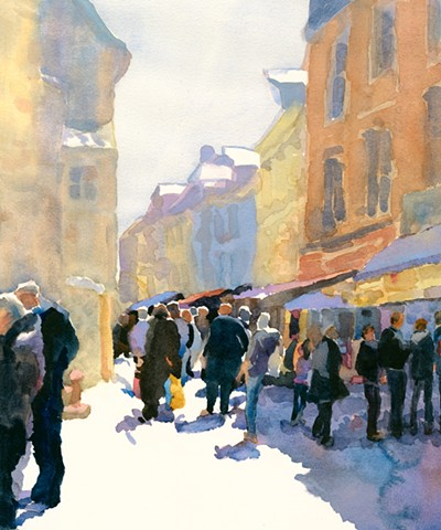 Honfleur, France, cityscape, landscape, people, watercolor painting by Edie Fagan
