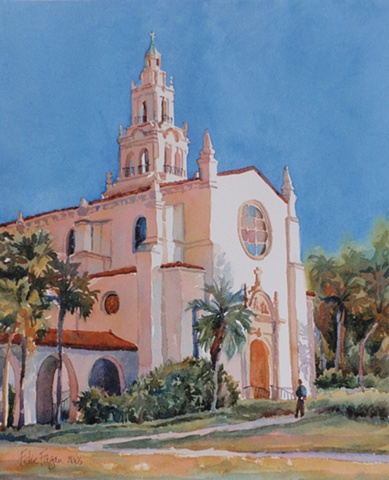watercolor painting by Edie Fagan of Rollins College Chapel in Winter Park Florida