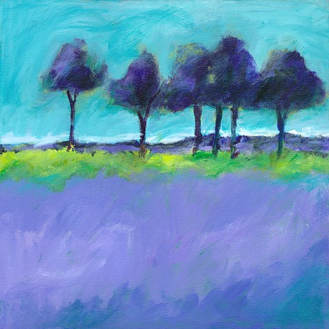 Original acrylic painting landscape trees purple lavender green yellow turquoise Edie Fagan