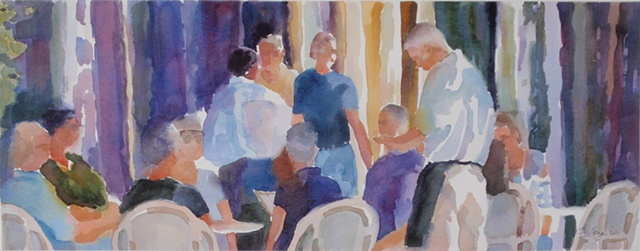 painting of Park Avenue, Winter Park, Florida, cafe, people, figures by Edie Fagan