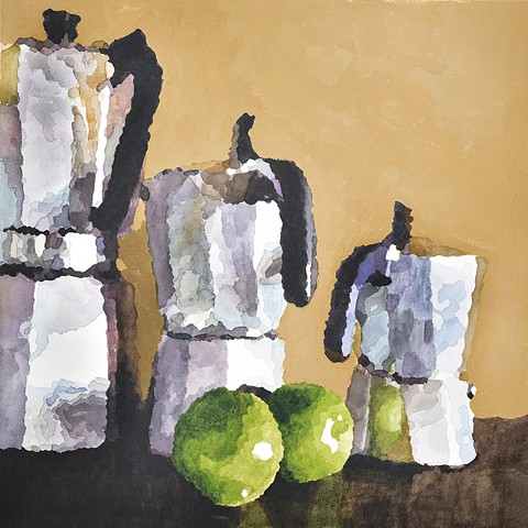 Mixed media painting of still life of espresso makers by Edie Fagan