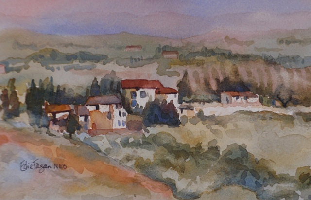 watercolor painting by Edie Fagan of Tuscany Vineyard Villa
