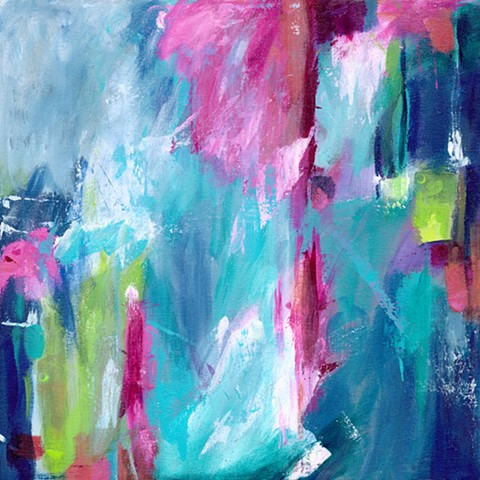 Mixed Media Acrylic Abstract Painting Pair by Edie Fagan blue pink red green turquoise contemporary art
