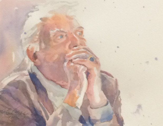 watercolor painting of old French man in Paris cafe by Edie Fagan