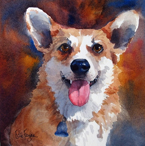 Edie Fagan Adored Dogs watercolor painting of dog watercolor painting of Pembroke Welsh Corgi dog
