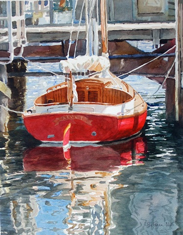 painting of red sail boat dock by Edie Fagan