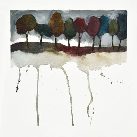 Abstract trees, mixed media painting, watercolor painting, Lake trees, by Edie Fagan