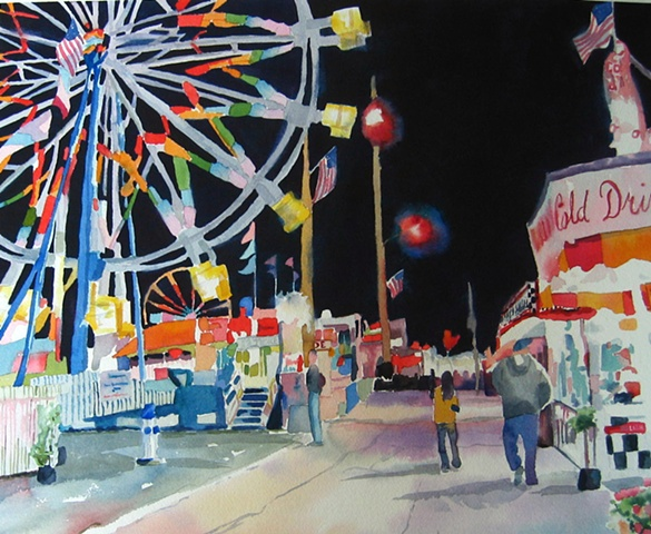 watercolor painting by Edie Fagan of Fair Ferris Wheel Central Florida Fair at night