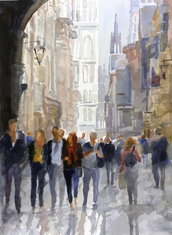 original watercolor by Edie Fagan of Rue du Petit Salut, Rouen, France