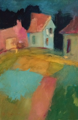 Abstract painting of French landscape by Edie Fagan
