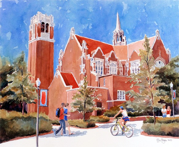original watercolor painting of University of Florida Auditorium by Edie Fagan, graduation gift