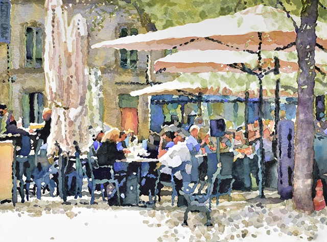 villieneuve-les-avignon, Avignon painting, french cafe, umbrellas, french street scene
