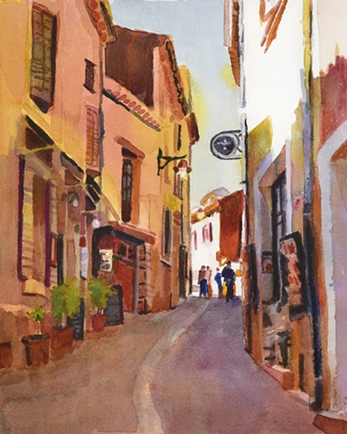Watercolor painting of Rousillon, France, Provence by Edie Fagan