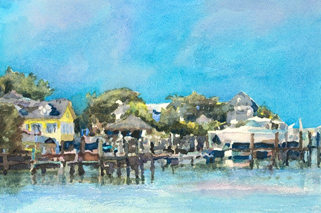 Harbour Island Dock, Bahamas, watercolor painting by Edie Fagan, ocean, turquoise,water, boats